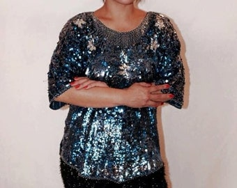 Vintage Shimmering Blue Sequinned  and Hand-Beaded Blouse