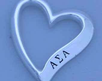 Alpha Sigma Alpha Sterling Silver Heart Shaped Pendent