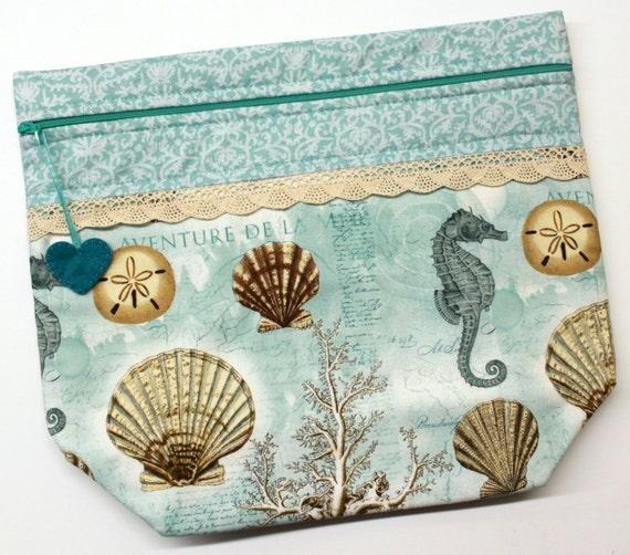 Big Bottom I Love the Sea Cross Stitch, Embroidery Project Bag