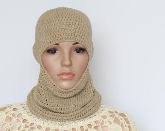 Crocheted Ski Mask Beige Winter Balaclava Mask Crocheted Face Mask