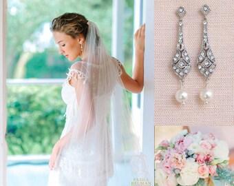 Crystal Bridal Earrings, Pearl Wedding Earrings, Rose Gold, Dainty, Delicate, Swarovski, Bridesmaid Earrings, Clara Bridal Earrings