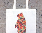 Colorful Bear and Triangles Tote Bag - Cotton Canvas Tote