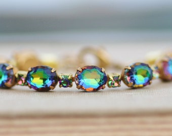 RARE Swarovski Vitrail Medium Rhinestone Tennis Bracelet,Tennis Link Bracelet,Jewel Toned Rainbow,Vintage Crystal Bracelet,Raw Gold Brass