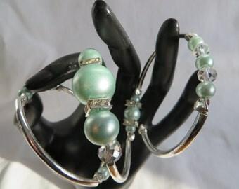 Triple Layer Light Blue Beaded Bracelet on Memory Wire