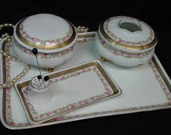 Antique Porcelain Dresser, Vanity Set 6 Piece Hand Painted, B T Co. Germany, Roses