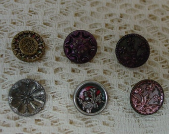 "Antique Metal Buttons, Six Each Different, 1/2""   (A)"