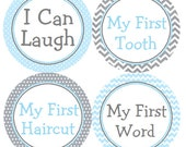 Baby Milestone Stickers Blue & Gray Labels Blue and Grey Chevron and Polka Dots for Baby Boy  - Laugh, My First Haircut, Word, Tooth