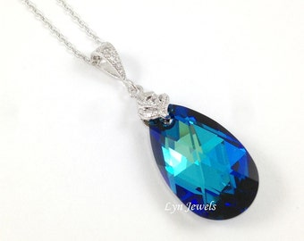 Blue Wedding Necklace, Swarovski Crystal Bermuda Blue Teardrop Necklace, Wedding Bridesmaids Necklace