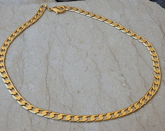 Gold Chain Necklace. Chunky Gold Necklace. 24K Gold Plated. Classic Necklace & Bracelet Set for Wife. Chunky Chain Necklace. Style Channel