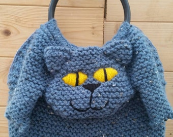 Knitted Cat Hand Bag in blue with brown flecks.