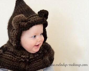 Knit Bear Hooded Scarf Pattern - Bear Hooded Cowl Knitting Pattern - Animal Hooded Cowl Knit Pattern - Knit Animal Hooded Scarf Pattern