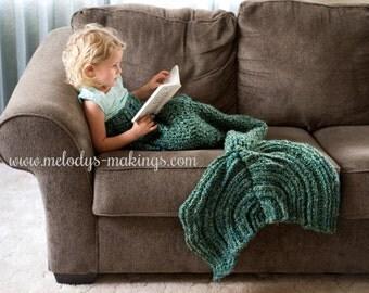 Child Mermaid Tail Blanket Crochet Pattern ~ Mermaid Tail Blanket Crochet Pattern ~ Adult Mermaid Tail Blanket Crochet Pattern