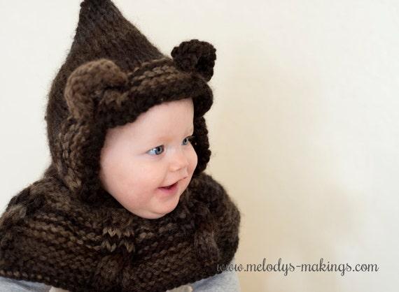 Animal Cowl Knitting Pattern : Knit Bear Hooded Scarf Pattern Bear Hooded Cowl Knitting