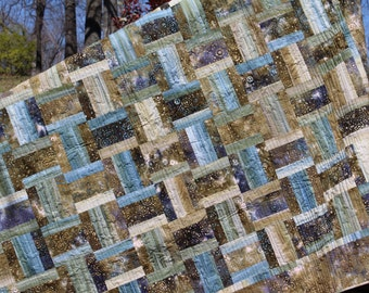 Flowing Waters LAP QUILT.  Daybed Quilt. Twin Quilt. Big & Tall Quilt.  Batik lap quilt.  Hand dye lap quilt. Father's Day LAP quilt.