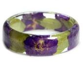 Bracelet -Purple Bracelet- Purple Flower Jewelry- Resin Jewelry- Flower Bangle- Purple Flower Bracelet- Green Jewelry