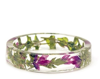 Pink Flower Bracelet - Real Flower Jewelry- Flower Jewelry- Jewelry with Real Flowers- Pink Flowers- Green Bracelet -Resin Jewelry