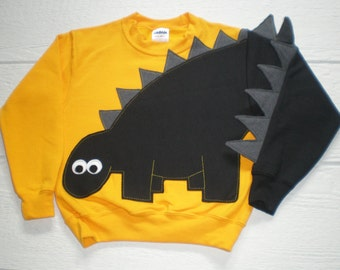Children's applique dinosaur shirt with black dinosaur with grey spikes. Size small, medium, large, xlarge, dino shirt, fun shirt, SPECIAL
