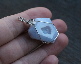Blue Lace Agate Sterling Silver Pendant #6459