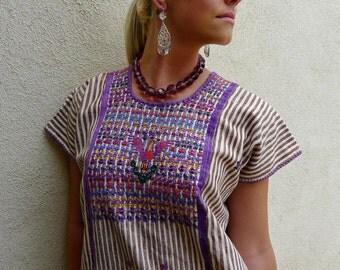 "Mexican handwoven embroidered huipil dress Oaxaca Zacatepec stripes amimal patterns boho resort Frida Kahlo 25""W x 46""L"