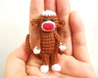 Crochet Sock Monkey 2 inches - Amigurumi Miniature Monkey Stuffed Animal - Made To Order