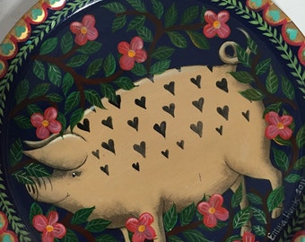 Original hand painted folk art tray by Emma Stubbs-Hunk, pig design