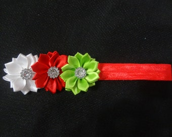 Red, Lime, and White Christmas triple flower headband