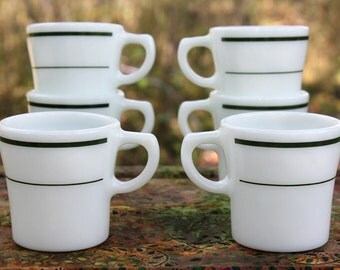 8 Vintage PYREX Corning Milk Glass C-Handle Cups - Restaurantware - Double Greens Stripes - Dining & Serving - Insurance w/ Shipping