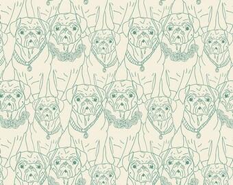 KNIT, Pug Ville Vert, Joie de Vivre Collection, Bari J, Art Gallery Fabrics, Stretchy Fabric