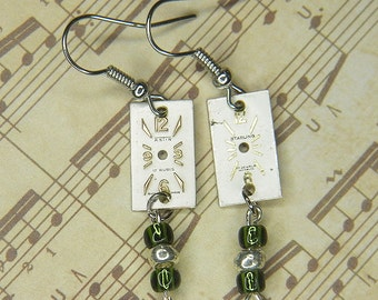 STEAMPUNK Earrings - Rectangular Watch Movement Face Earrings w Green & Silver Colored Beads - Art Deco Design