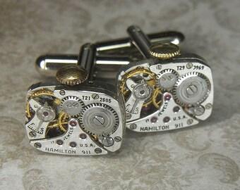 Steampunk  Cuff Links Cufflinks - TORCH SOLDERED - Antique Silver Rectangular HAMILTON Watch Movements w Crowns - Birthday Anniversary Gift
