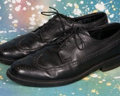 Men's Black Wingtip Dress Shoes Size 12