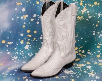 LARRY MAHAN White Cowboy Boots Women's Size 9 B