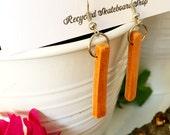 Recycled Skateboard Burnt Orange and Maple Drop Earrings
