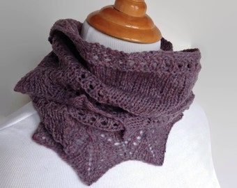 Wool Knit Scarf, Knit Scarf, Purple Wool Scarf, Womens Knit Infinity Scarf, Womens Wool Scarf, Purple Infinity Scarf, Wool Scarf
