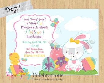 Easter Bunny Invitation, Egg Hunt Invite, Easter Birthday, Bunny Invitation, Easter Chicks, Holiday, Easter, Printed Invitation,