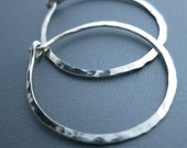 Hammered Sterling Silver Hoop Earrings 1 inch Hammered Earrings
