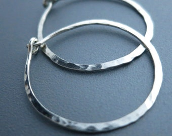 Hammered Sterling Silver Hoop Earrings 1 inch Hammered Earrings