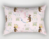 Rectangular Throw Pillow, Easter Bunny Factory