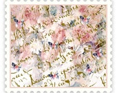 Fabric, French Script Butterflies and Roses Fabric small print repeat