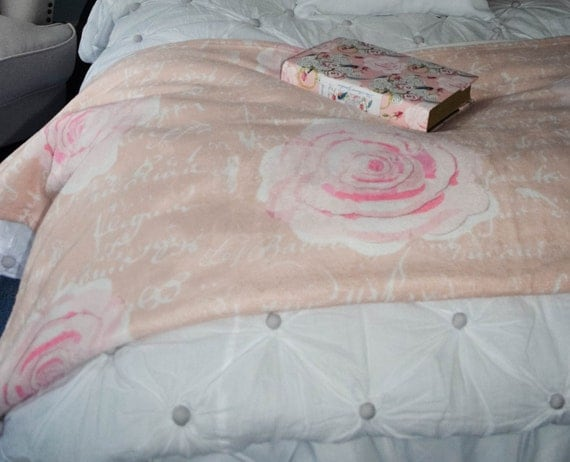 Throw Blanket, Blanket, Pink Watercolor Roses on Blush