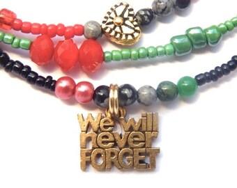 Black Lives Matter Liberation Waist Beads,  Garvey Liberation Belly Chain, Belly Beads, African Waistbeads