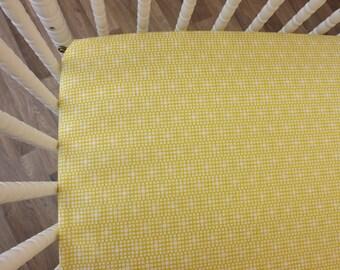 Yellow Crib Sheet- Baby Sheet- READY TO SHIP--Squared Elements Crib Sheet- Fitted Crib Sheet-Modern Crib Sheet