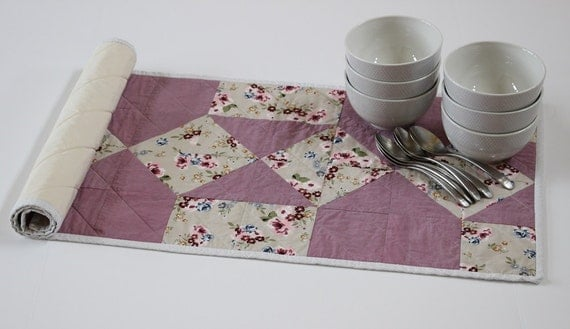 Lavender Purple Quilted Patchwork Table Runner