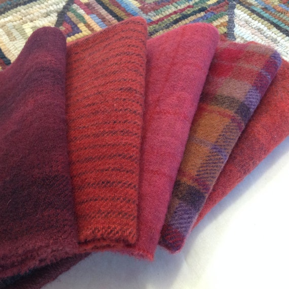 Cardinal Reds, Hand dyed wool fabric for Rug Hooking and Applique, 5) Fat 1/16ths, W216