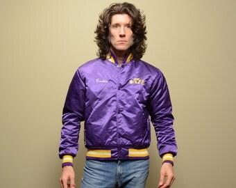 vintage Starter jacket 80s Utah Jazz purple jacket satin bomber Cookie hip hop street style 1980 medium M NBA 80s jacket