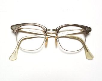 vintage eyewear 50s 60s cat eye glasses retro eyeglasses silver aluminum frames wayfarer clubmaster 1950 1960 American Optical 5 3/4 20mm