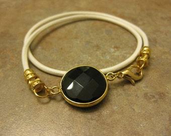 white leather bracelet, black onyx bracelet ,leather jewelry, wrap bracelet, onyx charm