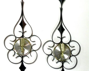 2 Vintage Pair Sconces- Candle Holder Dinner Decor Mid Century Modern Design- Etsy Coupons Living Spaces- Decorative