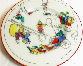 Circus Theme Child's Vintage Porcelain Plate marked Japan, decorated with Circus Clowns, Acrobats, Ducks