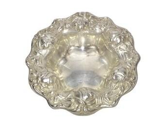 """Sterling Silver Bowl by Frank M. Whiting c 1910, repousse roses 6"""",  no. 397, bon bon bowl, candy bowl"""